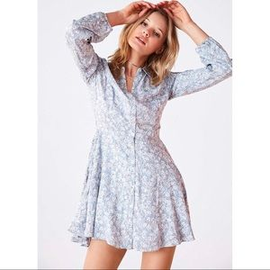 UO • Sabrina Floral Long-sleeve Mini Shirt Dress